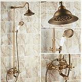 Gowe Classic Latón antiguo montado en la pared grifo de la ducha set grifo mezclador de bañera ducha de mano