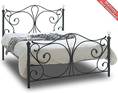 Sareer Sherry Black Double Metal Bed Frame - cheap UK light store.