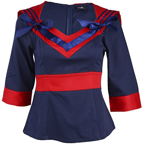 Küstenluder Pin Up SAILOR Girl MATROSEN Bluse - Navyblue/Red Rockabilly Dunkelblau