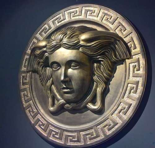 sensation WANDBILD 3D Medusa Relief Bild MÄANDER Muster Design EINMALIG HANDBEMALT DEKO WANDSKULPTUR Statue