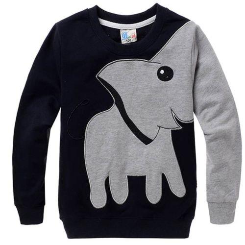 Little Sorrel Kinder Grün Yellow Elephant Baumwolle Sweatshirt Langarm shirts 1-6 Jahren, 110,schwarz (2-3 Jahre / 110) (Schwarz) (Jungen Langarm Pullover)