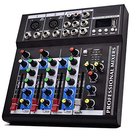 Mixer Console 4 Canali PROFESSIONALE Microfono USB MP3 PIANOBAR DJ KARAOKE F4USB Audio Digitale POWER Mic Mixing REGISTRAZIONE