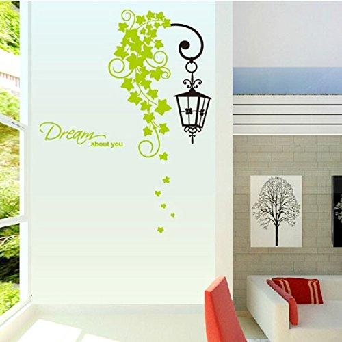 Hongrun Wandhalterung CD united Land-hyun aus Küche Dekor - abnehmbare Wand Aufkleber grün rattan Lampen 88 * 86 cm (Land-wand-dekor-aufkleber)