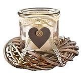 SIDCO Windlicht mit Kranz Kerzenglas Laterne Kerzenhalter Deko Shabby Landhaus Natur