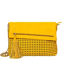 Navshi Yellow Pure Leather Sling Bag For Women