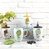 TIANLIANG04 Tazas Tazas de café Taza De Cerámica Taza Taza De Cerámica Blanca Fruta _ Taza De Café Con Una Tapa Con Paja Paja Fruta Taza De Cerámica, 401-500Ml