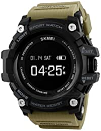 SKMEI 1188 Bluetooth Digital Smart Watch Colour Khaki With Health Fitness and Sport Activity Tracker, Heart Rate Sensor Monitor Compatible with IOS, Android, Apple iphone 7, 3G, 4G Smart Phones, All Mobiles