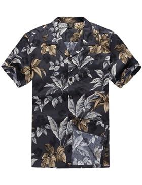 Uomini Aloha Shirt Camicia hawaiana Fogli grigio