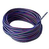 SIENOC 4 Color 33 pies (10m) Línea del cable de extensión del RGB para la tira del LED RGB 5050 3528 Cordón 4pin