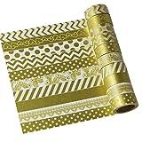 UOOOM 10 Rolls Beautiful Washi Tape Masking Tape deko Klebeband buntes Klebebänder DIY Scrapbook deko (Gold)
