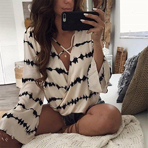 CYBERRY.M Blouse T-shirt Été Femme Manches Longues Casual Col V Mousseline de Soie Bureau Chemise Blanc et Noir