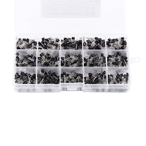 600Pcs 15 types de valeurs X 40 pcs NPN transistor PNP Kit TO-92 avec boîte en plastique