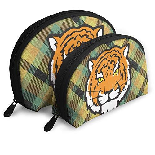 Make-Up Bag Tiger Travel Makeup Pencil Pen Case Multifunction Storage Portable - 2 Piece ()