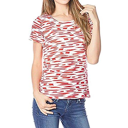 Juleya Sommer-Schwangere Fütterung T-Shirt Kleidung pflegende Mutterschaft T-Shirts Rot L (Shorts T-shirt Mutterschaft)