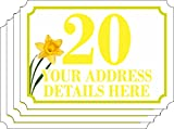 SET of 4 (A6 = 148MM X 105MM) DAISY FLOWER Personalised wheelie bin stickers (4 Pack) printed with your street, road or house name (A6)(new FLOWER DESIGN) (DAFFODIL)