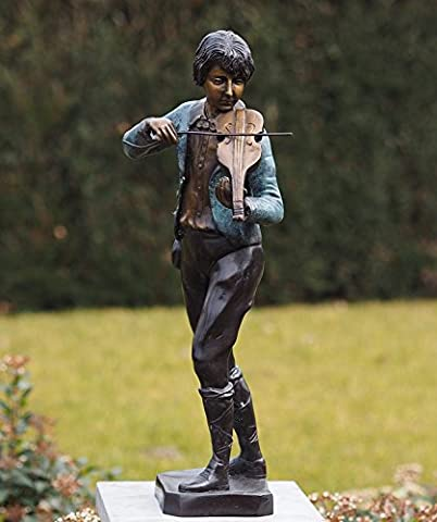 Sehr schöne Bronzeskulptur eines Junge der auf einer Violine spielt aus Bronze