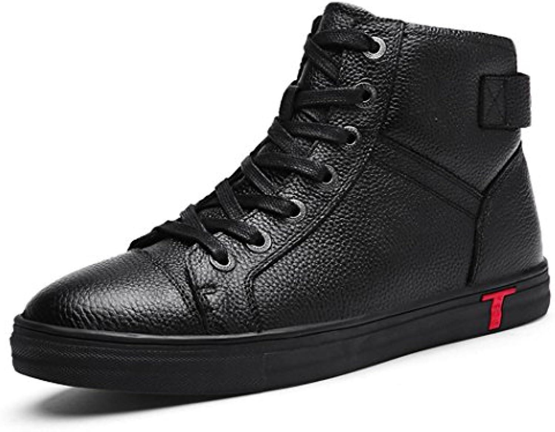 HHYAtmungsaktive Herbst und Winter's high slip casual Schuhe Stiefel aus Leder und Kaschmir Stiefel