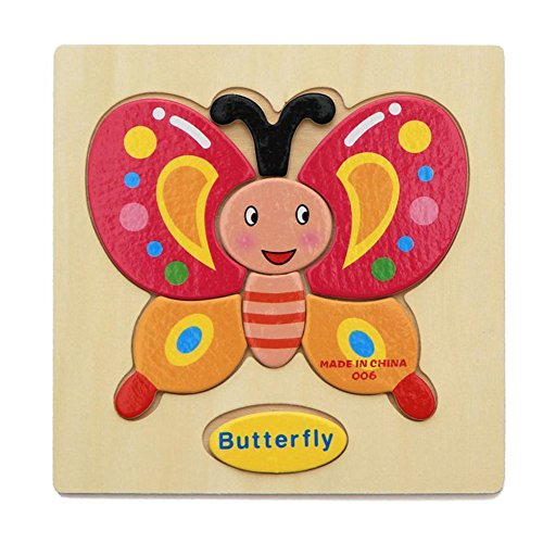 Kinder Holz Puzzle, YooGer Dimensional Spielzeug Kinder Baby Cute Cartoon Pädagogisches (Schmetterling)