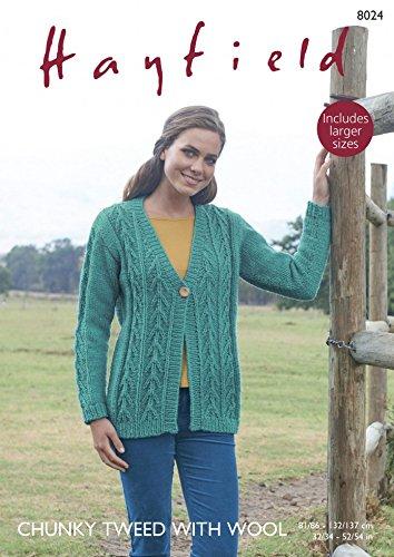 Hayfield Damen Strickjacke Tweed mit Wolle Strickmuster 8024Chunky - Tweed Wolle Strickjacke
