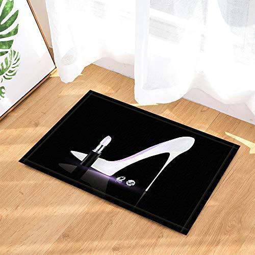 dsgrdhrty Fashion Shower Curtain White Scarpe col Tacco Alto Rossetto Diamante Antiscivolo Zerbini Tappeti per Interni 60X40CM