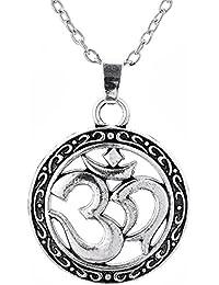 Collier à Breloque Celtique Ancien, Inscription Sanskrit (Ohm) - Bijou Religieux Hindou, pour les Hommes et les Femmes