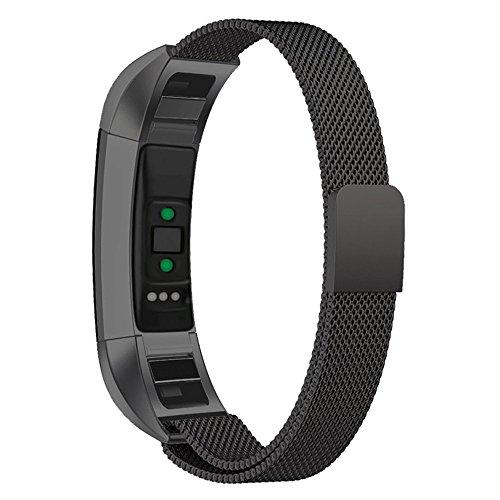 MYQyiyi myqyiyi Milanese-Armband Edelstahl Smartwatch für Fitbit-HR (schwarz)