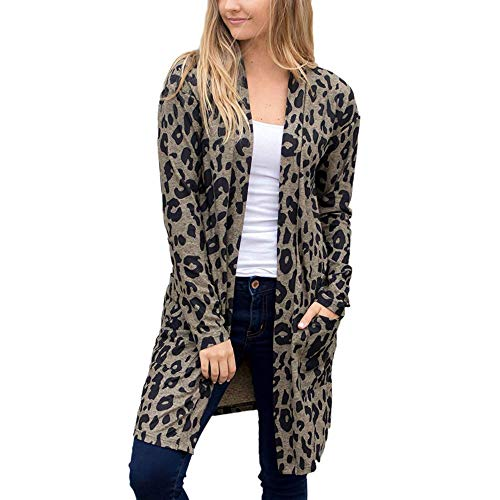 iHENGH Neujahrs Karnevalsaktion Damen Herbst Winter Bequem Mantel Lässig Mode Jacke Frauen Langarm Leopardenmuster Tasche Mode Mantel Bluse T-Shirt Strickjacke Top