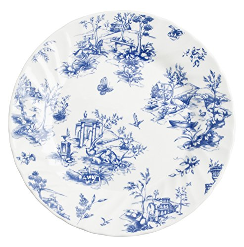Churchill Vajilla 18 Piezas Toile Blue Churchil, Loza Inglesa, Blanco y Azul, 14.08 cm