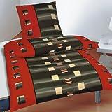2 tlg. Microfaser Bettwäsche Rot Grau Gestreift Kariert Kasten, 135x200 cm + 80x80 cm