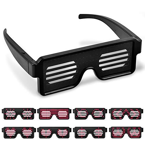 INDARUN Leicht Brillen Sonnenbrille Shutter funkeln Glasses Multicolor LED-Leuchtgläser mit 8 Modi für Party-Weihnachtsgeburtstag-Dekorationen (Rot)