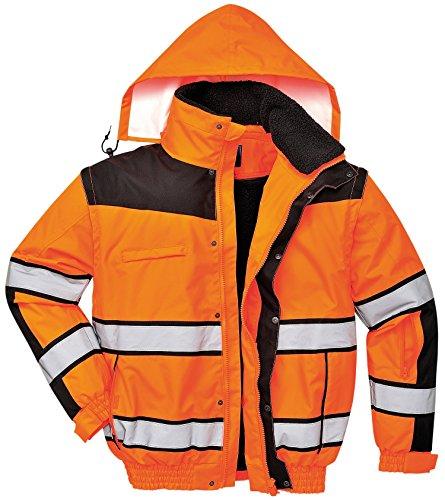 Portwest Hivis Mens klassische Arbeit Bomberjacke - gelb oder orange - Sml-3XL - Orange/ Black - 2XL