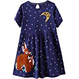 VIKITA Vestidos para Niñas T-Shirt Manga Larga Algodón Casual Patrón de Estrella 2-8 años