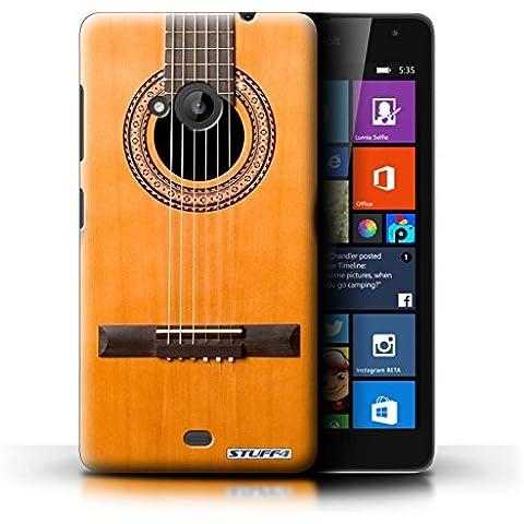 Custodia/Cover Rigide/Prottetiva STUFF4 stampata con il disegno Chitarra per Microsoft Lumia 535 - Legno/acustico in legno