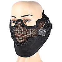 Shuzhen,Máscara táctica Militar de la Malla de Alambre del Acero del Metal de la Mitad Cara con el Combate de la protección auditiva para Airsoft Paintball al Aire Libre(Color:Negro)