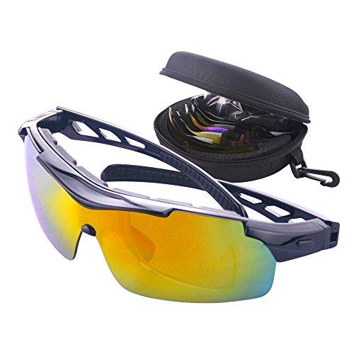 MATT SAGA Polarisierte Sport Sonnenbrille Unisex Radbrille UV-Schutz Fahrradbrille mit 5 Wechselgläser Sportbrille für Radfahren Fahren Golf Baseball Volleyball Fischen Klettern (Schwarz)