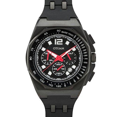 Otumm Sport Tachymeter Chrono schwarz 1401Rot Hand 45mm Unisex Sport Armbanduhr