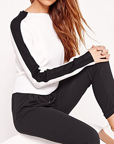 Smile YKK Sweat-shirt Automne Femme T-shirt Col Rond Tops Manches Longues Pull-over Casual Multicolore