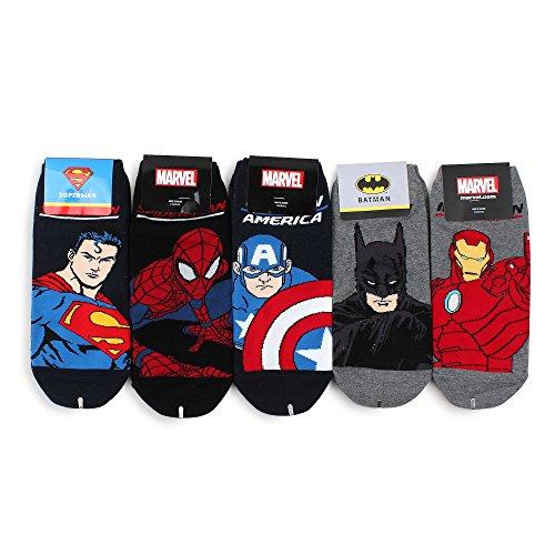 Intype Marvel DC Comics Disney Offizielle Socken Kollektion Pouch (Sneaker Socken 5 Paar(mb15))
