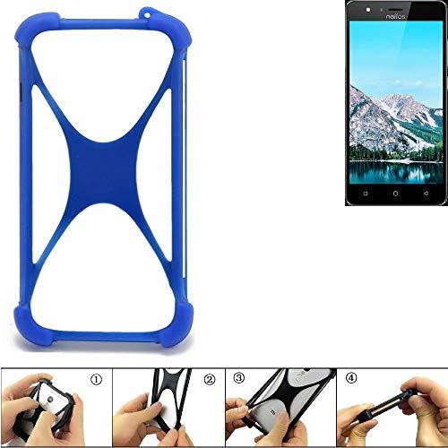 K-S-Trade Handyhülle für TP-LINK Neffos C5S Silikon Schutz Hülle Cover Case Bumper Silikoncase TPU Softcase Schutzhülle Smartphone Stoßschutz, blau (1x)