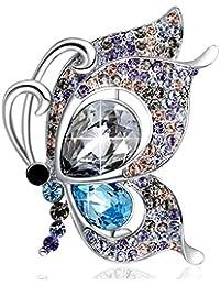 SUE'S SECRET Broches Mujer - Austríaco Cristal Swarovski - Broche de Mariposa - Cadena del suéter - Joyas de Europa- Regalo de Joyería Ideal para Madre/Amigo/Hija/Novia/Niña