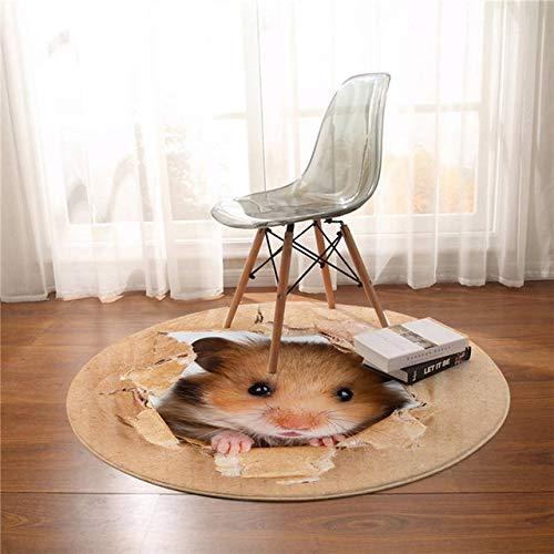 YUANYOULI Hamster-runder Teppich-Papier-Druckbereich 3D klares Braun Mauspad Niedliches Tier Beleg-Computertisch und Stuhl-Matte Kaffeematte,Hamster,Diameter 100cm