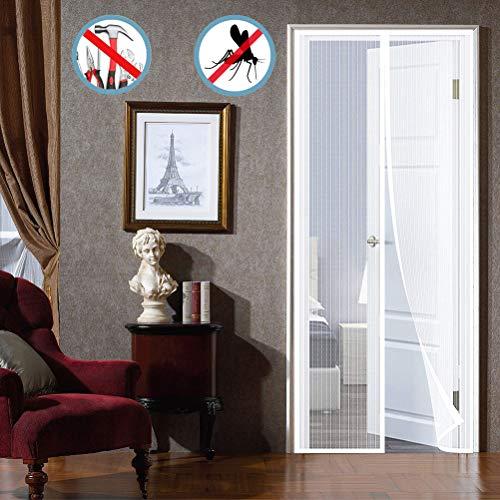 WISKEO Fliegengitter Mit Magnet Insektenschutz, Fliegenvorhang HäNde Frei, Moskitonetz Magnetverschluss, Full Frame, Geschenke Balkontür - Weiß 110x220cm