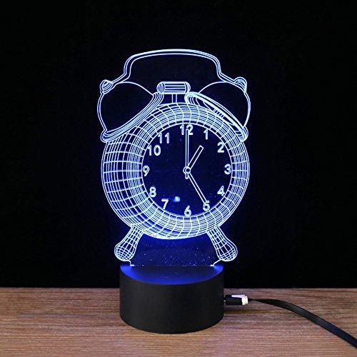 Display in 3D Wecker Licht Visuelle LED Lampe Nacht Licht Lampen von Büro USB mit Knopf Touchscreen, 7Farben Lichter LED - Clock Radio Digitale Atomic