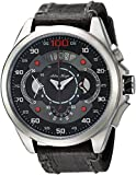 Adee Kaye Men's 'WHIRLLING COLLECTION' Quartz Stainless Steel and Leather Sport Watch, Color:Black (Model: AKA8900-M/LBK)