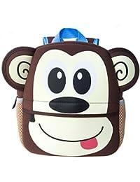 962efa898f Uworth Zaino per Bambini Animali Zainetti per Bambini Scuola Borsa per  Ragazze Ragazzi Scimmia