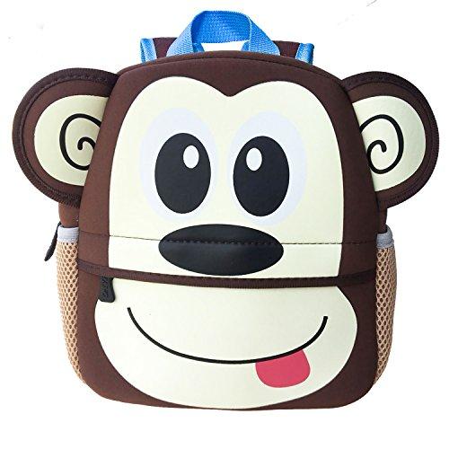 Uworth Zaino per Bambini Animali Zainetti per Bambini Scuola Borsa per Ragazze Ragazzi Scimmia
