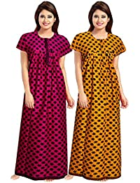 Lorina Women Cotton Nighty, Gown, Sleepwear, Nightwear, Maxi - Soft Night Suit, Cotton (Pack of 2 Pcs) Green,Purple