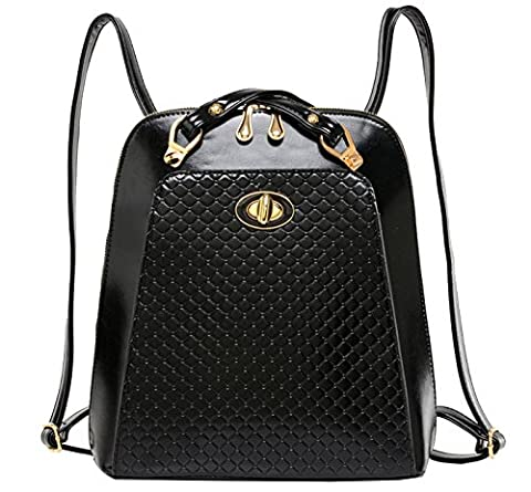 Tina Women's Fashion Quilted PU Leather Shoulder Bag Backpack Black