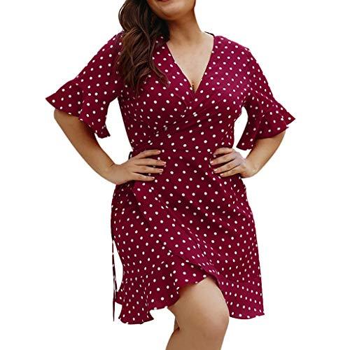MAYOGO Große Größen Kleid Kurz Damen Kurzarm Mini Gepunktetes Kleid Polka Dots Wickelkleid Schnüren Kleider Oversize XL-4XL