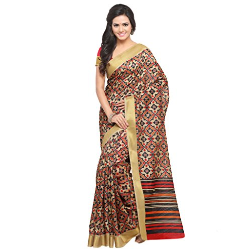 Rajnandini Women's Tussar Silk Patola Printed Saree(JOPLNB8000A__Free Size) (Beige)